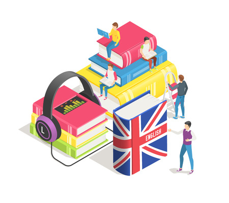 Learning foreign languages isometric concept. People and english french dictionary, textbooks study. Studying spanish german in language school online. Education textbook vector background Vector Illustration