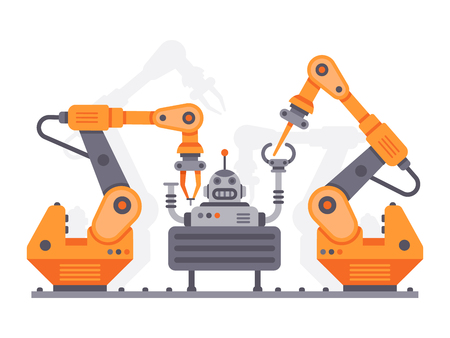 Flat auto robots factory. Electronic assembly of bot or machine operator arm or auto robot hand, industrial technology manufacture mechanic device equipment vector illustration Vettoriali
