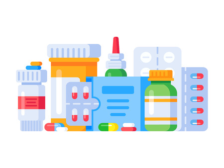 Medication drugs. Medicine pill, pharmacy drug bottle and antibiotic or aspirin pills cure treatment. Medications prescription vitamin capsules painkillers, health shop isolated vector illustration Ilustração