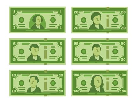 Cartoon-Banknote. Dollar-Bargeld, Geld-Banknoten und hundert Dollar-Scheine 100 Dollar stilisiert für gefälschte Rechnung, Casino spielen oder Geld investieren Vektor flach isoliert Icon Set Illustration