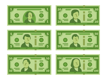 Cartoon banknote. Dollar cash, money banknotes and one hundred dollars bills 100 buck stylized for fake bill, play casino or investing money vector flat isolated icon set illustration