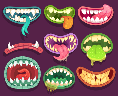 Monsters mouths. Halloween scary monster teeth and tongue in mouth closeup. Funny jaws and crazy face laugh maws of happy bizarre creatures expression zombie or alien character cartoon vector icon set Foto de archivo - 111905193