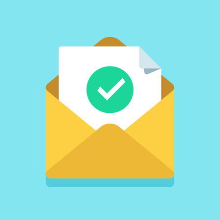 Check mark document in mail envelope. Approved tick marker, confirm accepted or checked on acceptance letter verify sending. Confirmation email message, verified emails mailer send flat vector icon Stock Illustratie