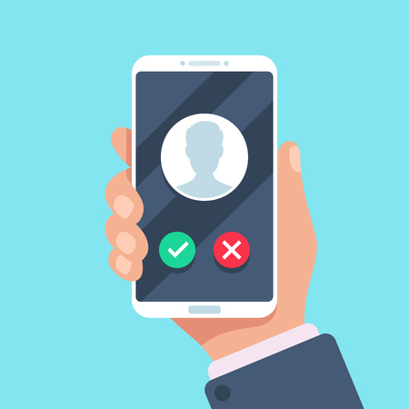 Incoming call on mobile phone. Calling on smartphone with telephone caller avatar, contact photo on friends income ringing phones screen, holding cellphone and talking flat vector illustration