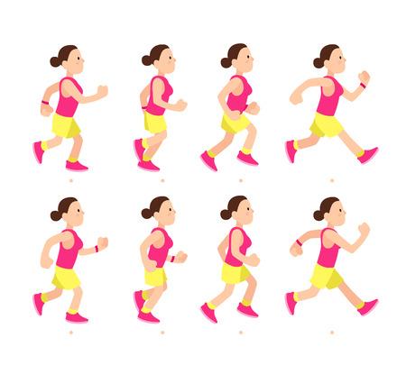 Animazione della ragazza in esecuzione dei cartoni animati. Profilo di carattere atletico giovane donna correre o camminare veloce. Sport di movimento animato a piedi vista laterale, illustrazione di vettore del corridore di lunga distanza