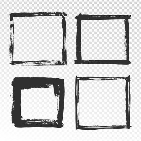 Marco de trazos de pincel. Bordes cuadrados grunge negro, marcos de fotos de pinceles, borde moderno abstracto y textura de bordes antiguos dibujados a mano angustiados con efecto de envejecimiento conjunto de vectores de símbolos aislados