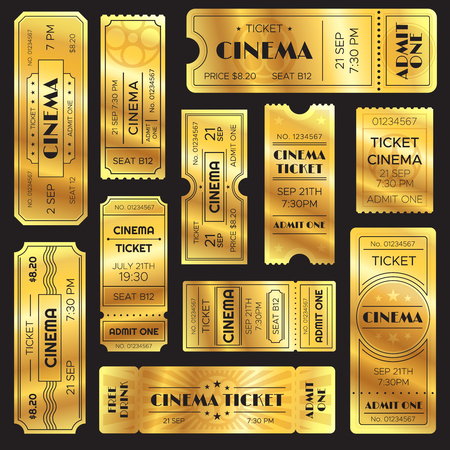 Realistic golden show ticket. Old premium cinema entrance tickets. Gold admission open sign to movie theater or entertainment amusement admitted film shows, retro vector isolated icons set Vector Illustration