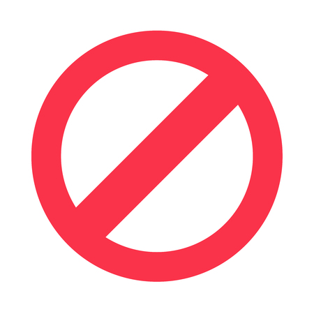 Stop sign symbol. Warning stopping icon, prohibitory character or road traffic red stops signal driving directions danger restrict ban circle street isolated vector flat pictogram