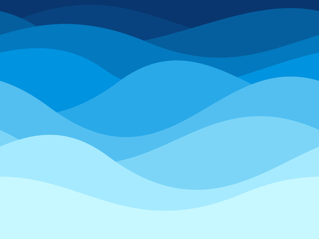 Blue waves pattern. Summer lake wave lines, beach waves water flow curve abstract landscape, vibrant silk textile texture vector seamless background Çizim