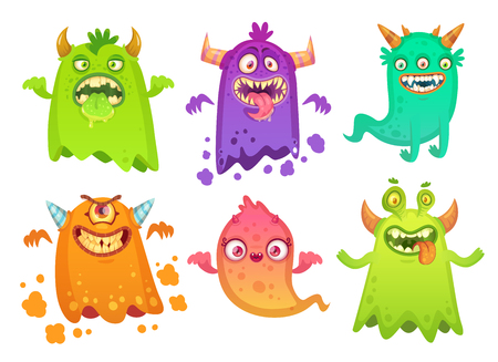 Cartoon monster ghost. Angry scary monsters mascot characters, cute goofy alien smile creature and happy gremlin, troll or devil bizarre character with teeth, vector isolated icon illustration set