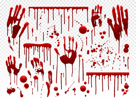 Blood drip. Red paint splash, halloween bloody splatter spots and bleeding hand traces. Dripping bloods mess horror murder crime texture, blood paint holiday decoration vector isolated icon set Ilustração