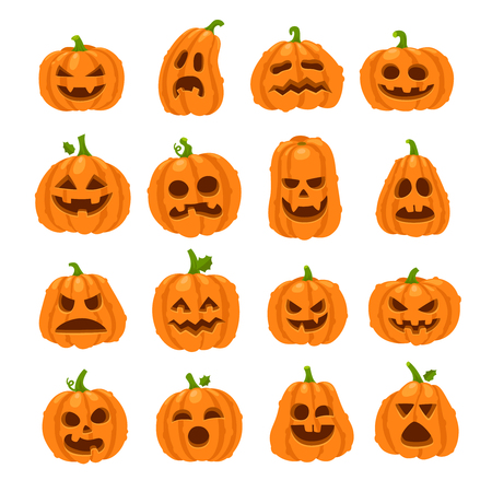 Cartoon halloween pumpkin. Orange pumpkins with carving scary smiling cute glowing faces. Decoration gourd vegetable or holiday spooky happy face, october nature vector isolated icon set 矢量图像