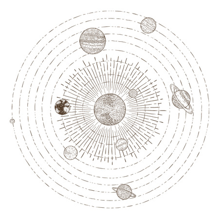 Solar system planets orbits. Hand drawn sketch planet earth orbit around sun, astrology circle universe. Astronomy satellite vintage orbital planetary galaxy vintage vector illustration Vettoriali