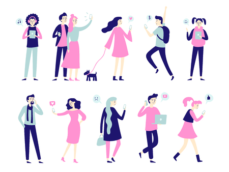 Character with smartphone. Smartphones in people hands, man talk on mobile phone, girl texting or woman and pair taking selfie. Flat characters hold gadgets vector isolated icon set