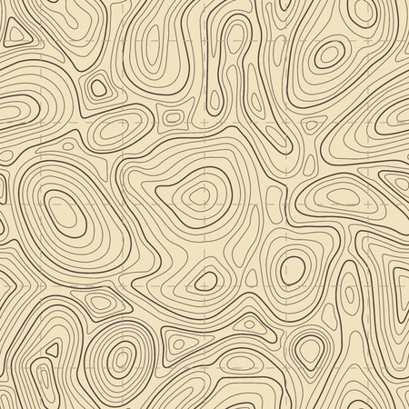Seamless topographic map texture. Cartography elevation maps contour hiking, topography contoured terrain lines trail, longitude topographical landscape geographic vector background