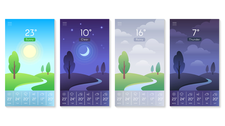 Landscape for weather app. Beautiful daytime sky with sun, moon at night noon and rainy clouds. Morning and day interface background for mobile screen vector concept isolated icons set