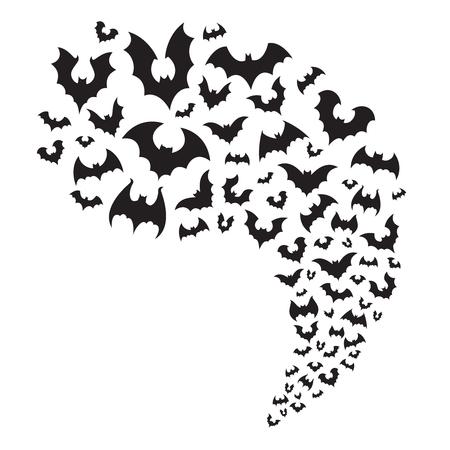 Los murciélagos voladores acuden en masa. Espeluznante murciélago de halloween vuela desde la cueva. Silueta de vampiro espeluznante animal nocturno aterrador en el divisor horizontal del cielo, decoración de otoño para la ilustración de vector de fiesta de noche de octubre