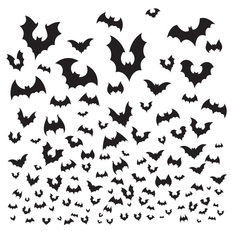 Flying halloween bat. Cave bats flock silhouette fly at sky. Scary dark vampire flittermouse, gothic spooky evil horror for october holiday decoration vector background illustration Vettoriali