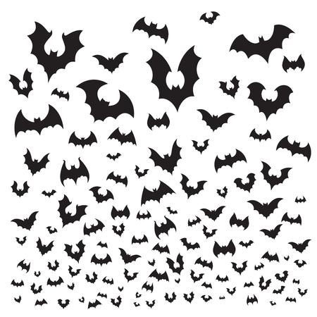 Murciélago de halloween volador. La silueta de la bandada de murciélagos de cueva vuela en el cielo. Flittermouse vampiro oscuro aterrador, horror malvado espeluznante gótico para la ilustración de fondo de vector de decoración de vacaciones de octubre