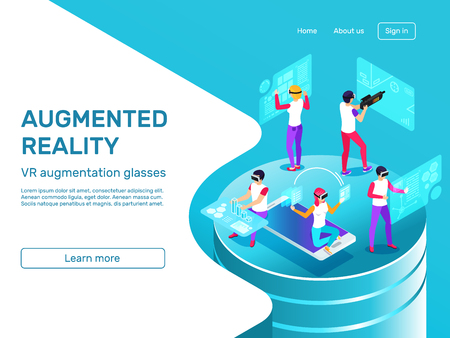Isometric 3d people learning and working at augmented reality headset mobile gadgets future tech. VR digital augmentation glasses virtual game technology infographic concept vector illustration