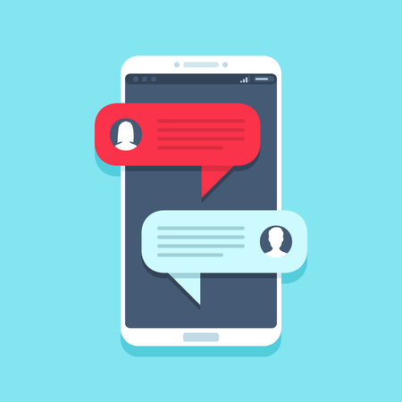 Chat message on smartphone. Mobile phone chatting, people texting cellphone messages and sms messaging bubble text on phones screen, woman and man conversation vector flat illustration 矢量图像
