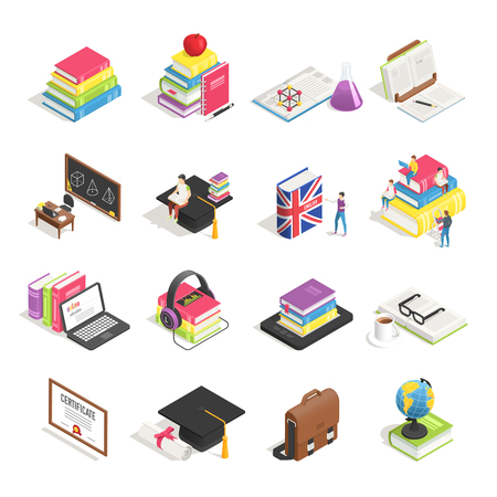Isometric college education icon. School blackboard, university students admission briefcase and professor glasses, science chemistry and maths student. Books laptop case isolated icons vector set