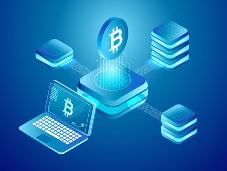 Blockchain technology. Cryptocurrency coins mining, secure distributed network blocking exchange money of crypto currency connected mine blocks transfer concept isometric vector illustration Vecteurs
