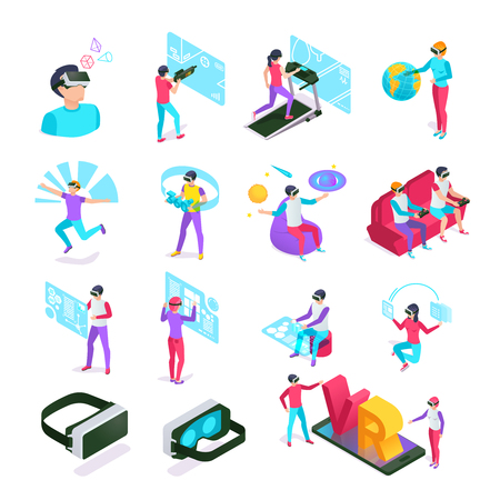 Digital entertainments VR cyberspace headset computer glass. Augmented future gadgets futuristic tech or virtual reality glasses display augmentation at isometric people vector isolated symbols set Illustration