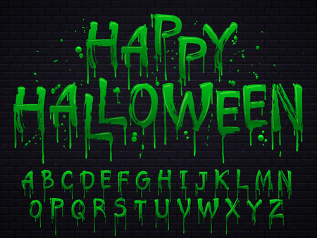 Green slime font. Halloween toxic waste letters, blot scary horror greens goo alphabet text sign and blots splash liquid slimes spooky letters, goo vector isolated symbols set Çizim