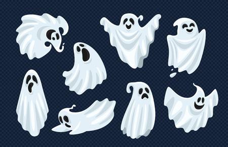 Personnage fantôme. Monstre fantomatique effrayant d'Halloween, fantôme de boo mort et anima de mouche effrayant boohoo drôle mignon ou horreur costume fantôme de diable curieux jeu d'icônes vectorielles de dessin animé isolé