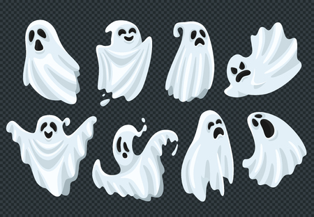 Spooky halloween ghost. Fly phantom spirit with scary face. Ghostly apparition dead ghoul boohoo cute face or whisper in white fabric, haunting humor holiday vector illustration cartoon symbol set Illustration