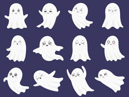 Cute halloween ghosts. Frightened funny ghost, curious spook and spooky devil smiling ghostly child character, boohoo emotion cartoon vector isolated icons illustration set