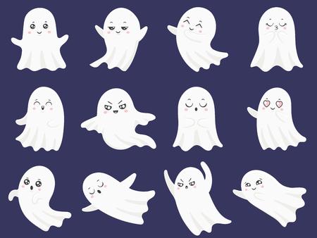 Lindos fantasmas de halloween. Fantasma divertido asustado, fantasma curioso y diablo espeluznante sonriente personaje infantil fantasmal, conjunto de ilustración de iconos aislados de vector de dibujos animados de emoción boohoo