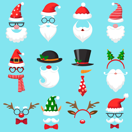 Christmas cartoon hats. Xmas santa hat, elf cap and reindeer photo mask. Santas beard and mustaches mask, snowman deer head costume accessory in mobile app for party, vector isolated icons set Vector Illustration