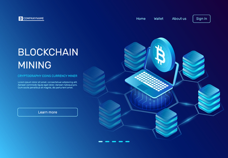 Blockchain mining. Cryptography coins currency miner payment on ethereal mine laptop connected to blockchain bitcoin farms network. E crypto world business banking commerce vector illustration
