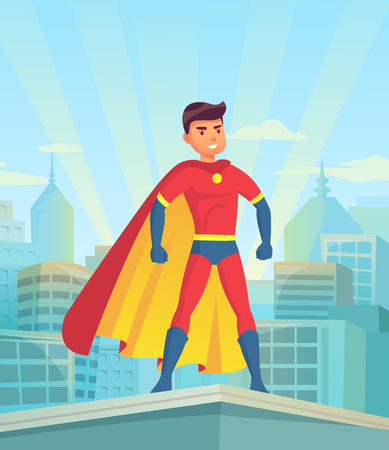Cartoon superhero watching city. Comic powerful man, hero in super suit with cloak cape on town cityscape superman justice protector muscular macho silhouette for comics book vector illustration Illustration