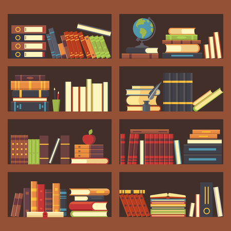 Books in library bookcase. Encyclopedia book at bookshelf. Pile textbooks, bookstore shelf and science magazines books at bookshelves, school education flat vector background illustration Stock Illustratie
