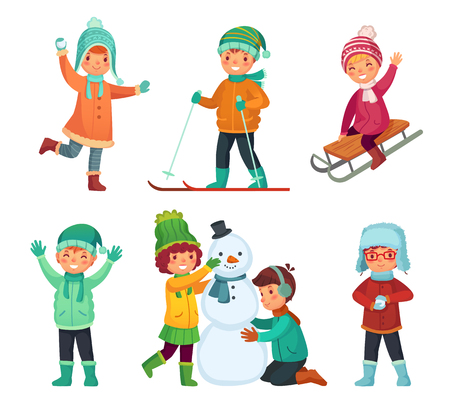 Cartoon winter kids. Children play in winters holiday, sledding and making snowman and snowball. Childrens characters, child playing cold snow holidays Xmas game vector isolated icons set