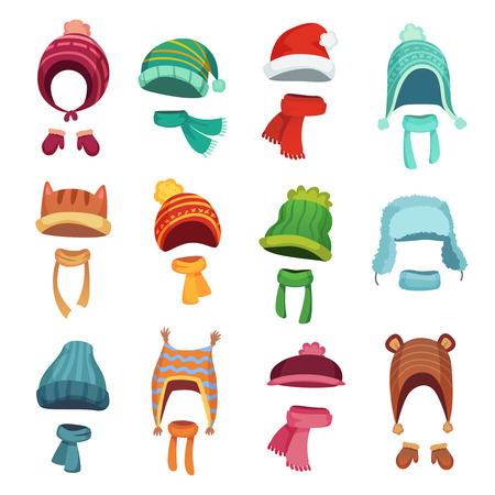 Chapeau d'hiver pour enfants. Chapeaux et écharpes chauds pour enfants. Chapeaux et accessoires d'écharpe d'automne pour garçons et filles, tenue de bonnet en tricot pour application mobile, ensemble d'icônes isolées de vecteur de dessin animé