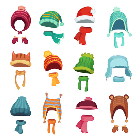 Winter kids hat. Warm childrens hats and scarves. Headwear and autumn scarf accessories for boys and girls, knit cap outfit for mobile application, cartoon vector isolated icons set