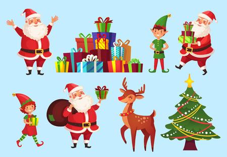 Personaggi dei cartoni animati di Natale. Albero di Natale con regali di Babbo Natale, elfi aiutanti di Babbo Natale e compagno di vacanze invernali cervi noel, set di icone isolato carattere vettoriale celebrazione 2019 Vettoriali