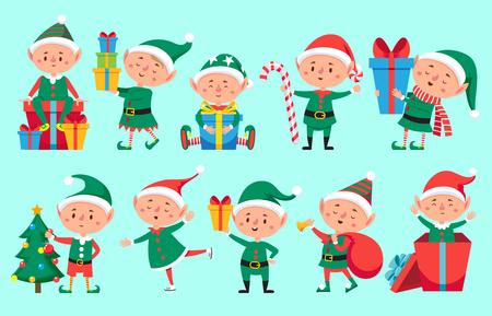 Personaje de duende navideño. Lindos elfos de ayudantes de Santa Claus. Divertida criatura de personajes de ayudante de fantasía de bebé enano de invierno de Navidad con regalo, conjunto de símbolos aislados de vector de año nuevo