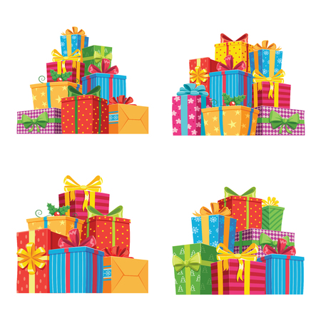 Christmas presents in gift boxes. Birthday present box, xmas or wedding anniversary, valentine gifts pile with ribbon. Holiday greeting isolated vector icons illustration set
