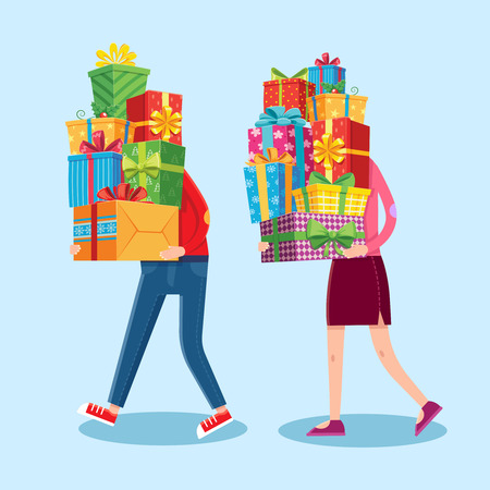 Carry gifts stack. Carrying christmas stacked presents in man and woman funny character hands. Heavy carry wrapping gift pile, Xmas giving present greeting card vector cartoon illustration