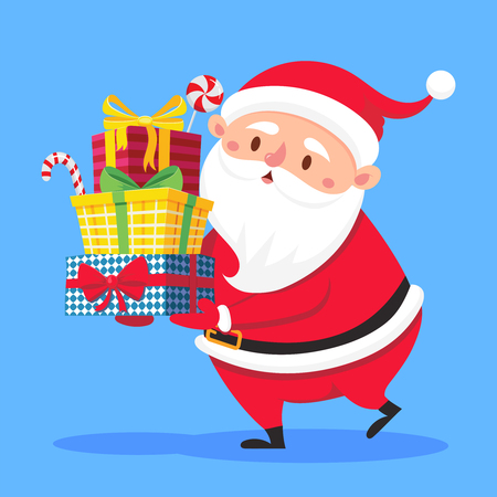 Santa Claus carry gifts stack. Christmas gift box carrying in hands. Heavy stacked winter holidays presents giving, xmas noel greeting card flat vector cartoon illustration Illustration