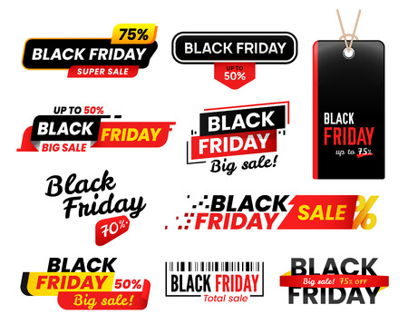 Black friday labels. Sale sticker for thanksgiving fridays sales, shopping tag shopper stickers, online cyber market shoppers label advertising designs. 2018 vector isolated icons set