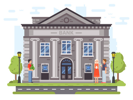 Banking operations. Bank building facade with columns. People carry money to banks or loan, use ATM and send remittances, government roman financial institute or courthouse vector flat illustration Vektoros illusztráció