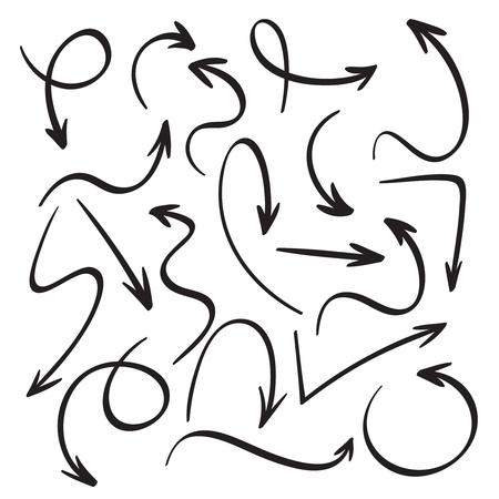 Frecce nere del fumetto. Schizzo di freccia disegnata a mano. Swirl, ritorno indietro e disegni a inchiostro di indicatore del cursore del puntatore di direzione abbozzato, set di icone isolate di vettore del puntatore di doodle del contorno