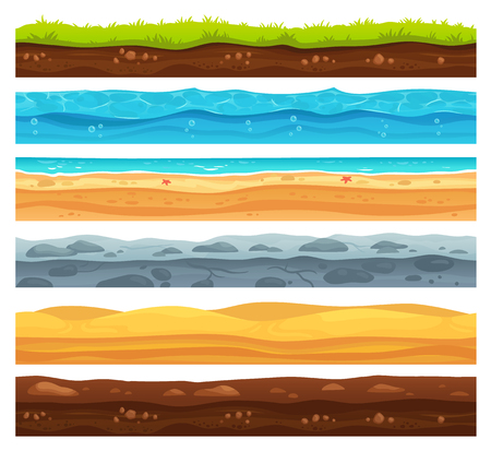 Superficie del suelo sin costuras. Paisaje de tierra de pasto verde, desierto arenoso y playa con agua de mar. Textura de capas de motivos para el desarrollo de nivel de juego, conjunto aislado de dibujos animados de vector de geología Ilustración de vector
