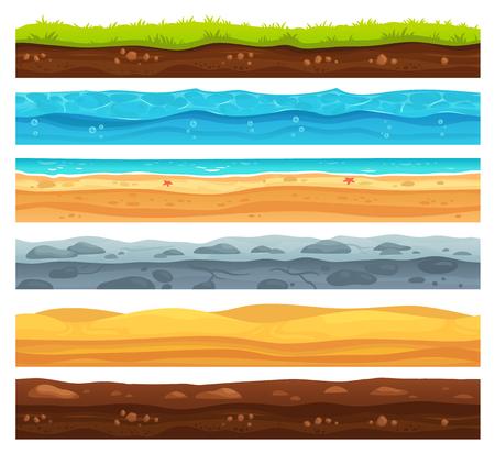 Superficie del terreno senza soluzione di continuità. Paesaggio di terra di erba verde, deserto sabbioso e spiaggia con acqua di mare. Trama di strati di motivi per lo sviluppo del livello di gioco, insieme isolato del fumetto di vettore di geologia Vettoriali